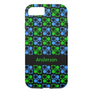 Custom Retro Blue Green Circles Square iPhone Case