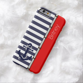 Custom Retro Boat Anchor Stripes Pattern On Red Barely There iPhone 6 Case