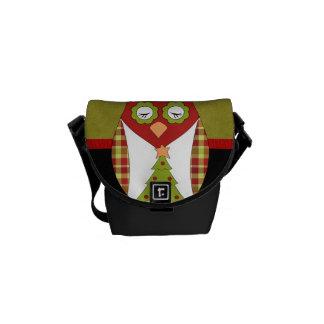 Custom Retro Christmas Owl Courier Bags