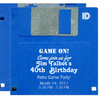 Custom Retro Game Birthday Invite Floppy Disk 3.5