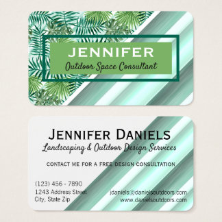 Custom Retro Hip Tropical Green Palm Leafs Pattern Business Card