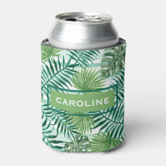 Custom Retro Hip Tropical Green Palm Leafs Pattern Can Cooler