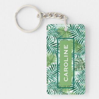 Custom Retro Hip Tropical Green Palm Leafs Pattern Key Ring