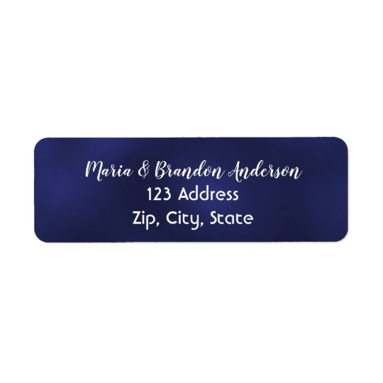 Custom return address label midnight blue white