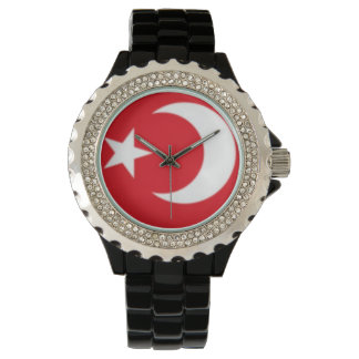 Custom Rhinestone Black Enamel Wrist Watches
