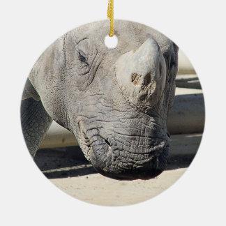 Custom Rhinoceroses Photo Design. Double-Sided Ceramic Round Christmas Ornament