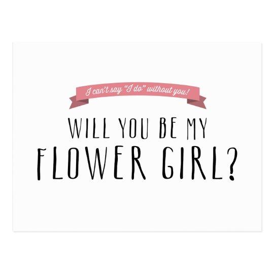 Custom Ribbon Colour - Flower Girl Proposal Postcard