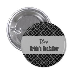Custom Role Wedding Pink in Black White Silver 3 Cm Round Badge