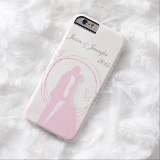 Custom Romantic Dreamy Pink Wedding Couple Barely There iPhone 6 Case