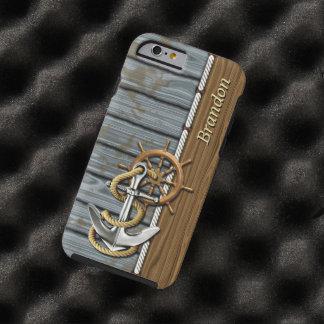 Custom Rope Wheel Nautical Anchor Wood Pattern Tough iPhone 6 Case