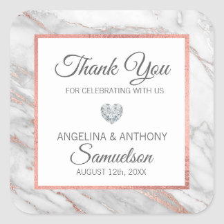 Custom Rose Gold Foil Marble WEDDING Thank You Square Sticker