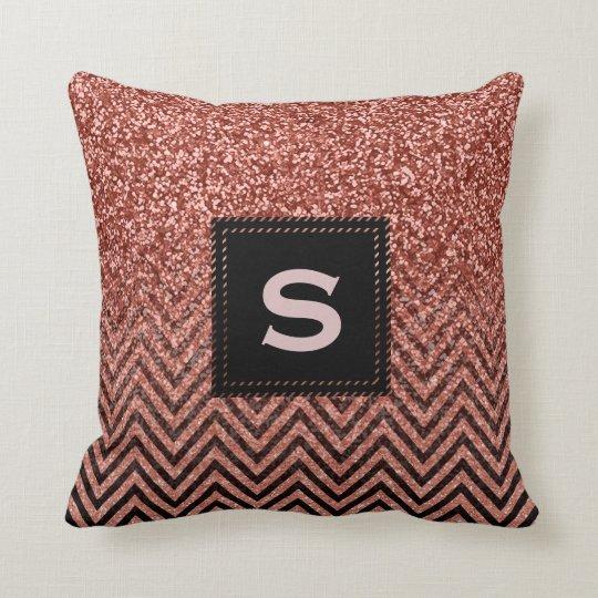 Custom Rose Gold Pink Glitter Chevron Zigzag Cushion