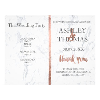 Custom Rose gold typography marble wedding program Flyer