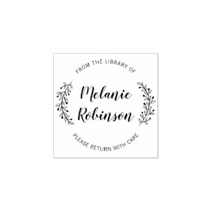 Custom Round Botanical From The Library Of Rubber Stamp