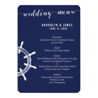 Custom Round Nautical Navy Blue Wedding Menu Wheel Card