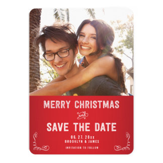 Custom Round Photo Save The Date Christmas Cards
