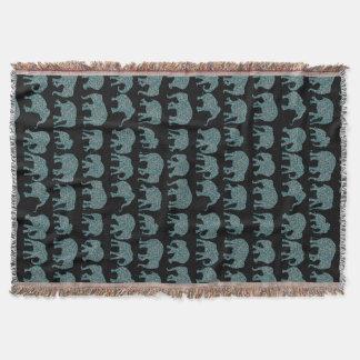 Custom Rows of Paisley Elephants Throw Blanket