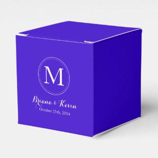 Custom Royal Blue Colored Monogram Favor Boxes Party Favour Boxes