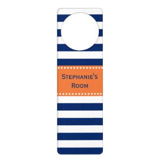 Custom Royal Blue Stripes Pattern with Orange Door Hanger