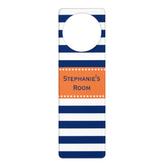 Custom Royal Blue Stripes Pattern with Orange Door Knob Hanger