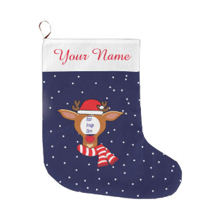 Custom Rudolph Picture Christmas Stocking