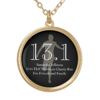 Custom Runner 13.1 Half Marathon Keepsake Medal Gold Plated Necklace