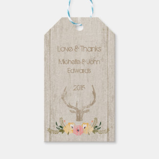Custom Rustic Deer And Floral Gift Tag