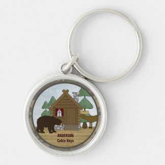 Custom Rustic Lodge Cabin Keys with Bear and Moose Silver-Colored Round Key Ring