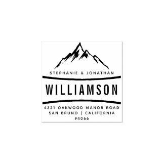 Custom Rustic Mountain Adventure Return Address Rubber Stamp