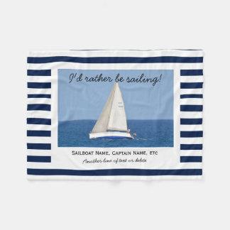Custom Sailing Sailboat Photo Blue & White Stripes Fleece Blanket