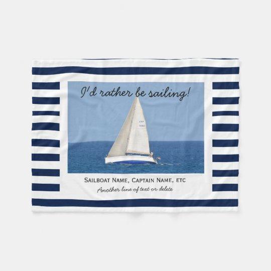 Custom Sailing Sailboat Photo Blue & White Stripes