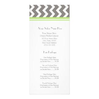 Custom Salon Rack Cards Lime Grey Chevron