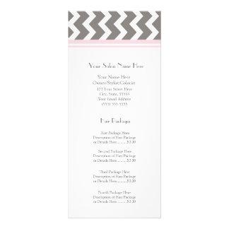 Custom Salon Rack Cards Pink Grey Chevron