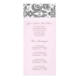 Custom Salon Rack Cards Pink Grey Damask