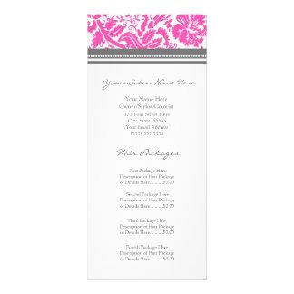 Custom Salon Rack Cards Pink Grey Damask