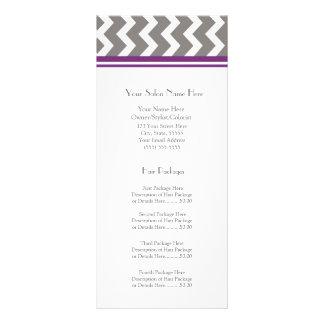 Custom Salon Rack Cards Purple Grey Chevron