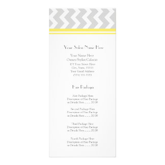 Custom Salon Rack Cards Yellow Grey Chevron