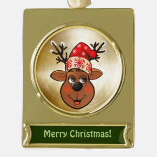 Custom Santa Claus's Reindeer Cartoon Gold Plated Banner Ornament