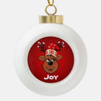 Custom Santa Claus's Reindeer Ceramic Ball Decoration