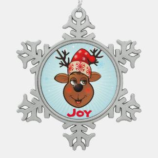 Custom Santa Claus's Reindeer Pewter Snowflake Decoration