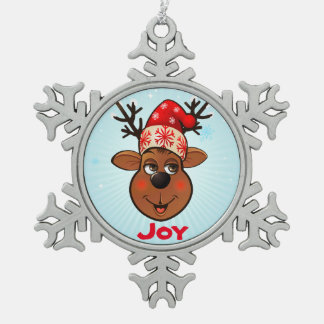 Custom Santa Claus's Reindeer Pewter Snowflake Decoration