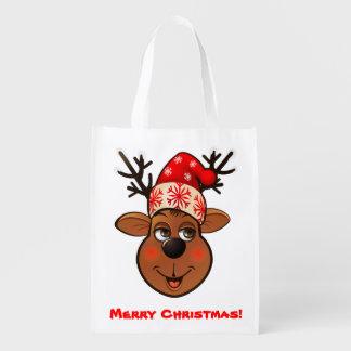 Custom Santa Claus's Reindeer Reusable Grocery Bag