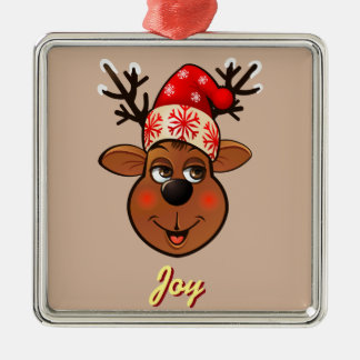 Custom Santa Claus's Reindeer Silver-Colored Square Decoration