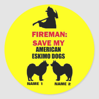 Custom Save My American Eskimo Dogs Classic Round Sticker