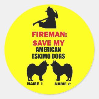 Custom Save My American Eskimo Dogs Round Sticker