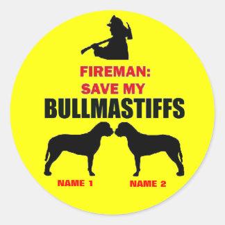 Custom Save My Bullmastiffs Round Sticker
