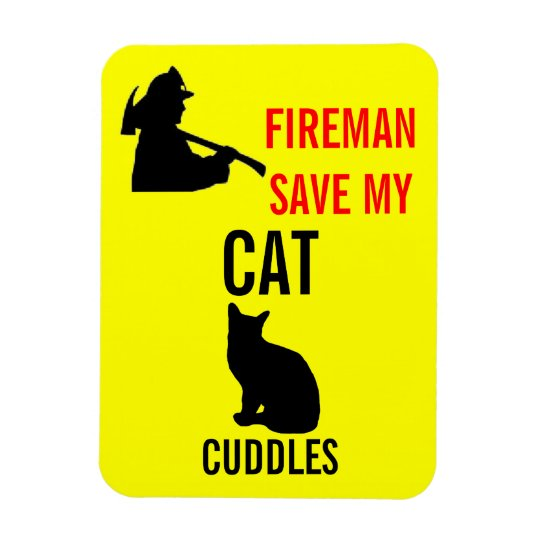 Custom Save My Cat Fire Safety Rectangular Photo Magnet