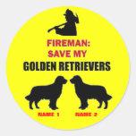 Custom Save My Golden Retrievers Round Sticker