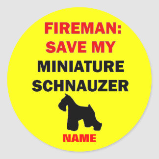 Custom Save My Miniature Schnauzer Classic Round Sticker