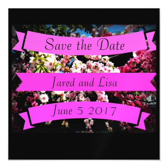 "Custom ""Save the Date"" Cherry Blossom Magnet"